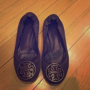 Dark purple suede Tory Burch flats